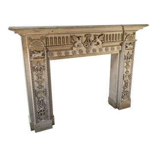 "Handcrafted Art Deco Hollywood Moderne Carved Wood Mantel Attributed to Carroll Clark for RKO's ""Citizen Kane"" For Sale"