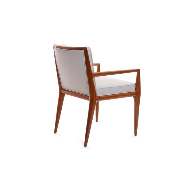 Mid-Century Modern T.H. Robsjohn-Gibbings Widdicomb Walnut Leather Armchairs - A Pair For Sale - Image 3 of 7