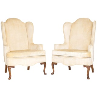 Queen Anne Wingback Chairs, a Pair For Sale
