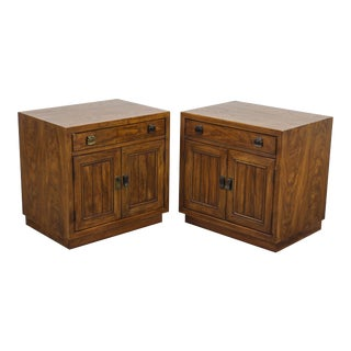 Vintage Mid Century Campaign Style Nightstands - a Pair For Sale