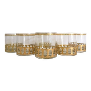 Vintage Mid-Century Modern Gold Leaf Lowball Rocks Glasses - Set of 6 For Sale
