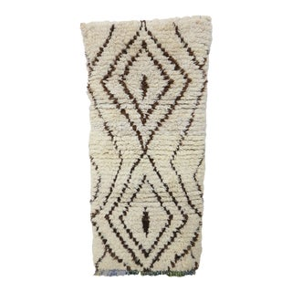 """Vintage Ivory & Black, White Wool Azilal Rug, 2'10"""" X 5'11"""" Feet For Sale"""