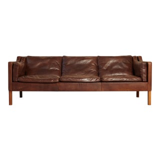 Original Borge Mogensen 2213 Sofa in Patinated Leather, Denmark, 1960s-1970s For Sale