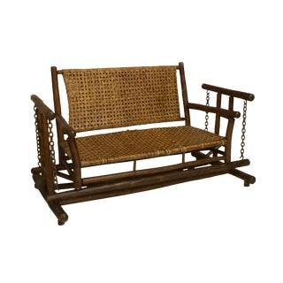 American Rustic Old Hickory Glider Loveseat For Sale