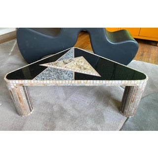 Artist Made Mosaic Mixed Stone Triangular Side Table Preview