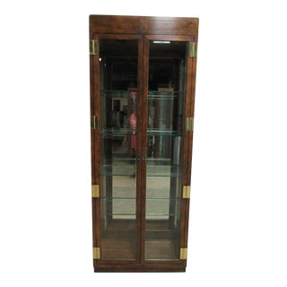 Henredon Campaign Scene One Curio Display Cabinet For Sale