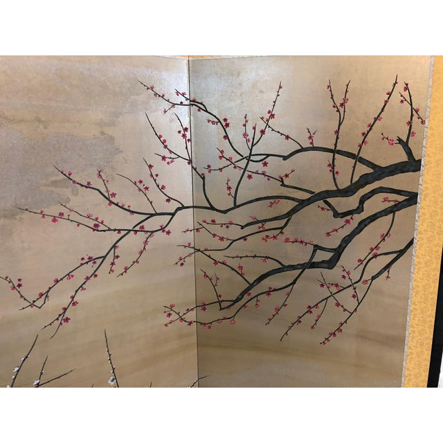 Early 20th Century Chinese Painted Silk Cherry Blossom Screen For Sale - Image 5 of 10