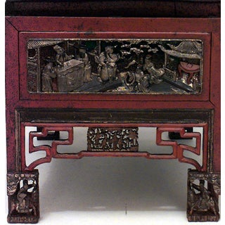 Asian Chinese Red Lacquered Chinoiserie Carved Bench Preview
