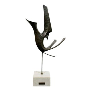 Mid Century Modern Bronze on Marble Bird Table Sculpture Signed Reba Pintzuk 1970s For Sale
