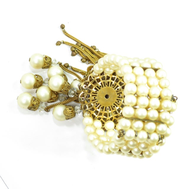 1950s Miriam Haskell Faux Pearl, Crystal, & Art Glass Cuff Bracelet For Sale - Image 10 of 13