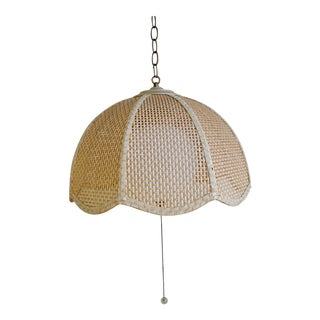 Vintage Mid-Century Wicker Hanging Pendant Light For Sale