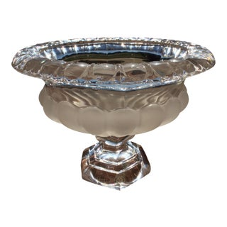 Lalique Inspired Frosted Satin Crystal Compote For Sale