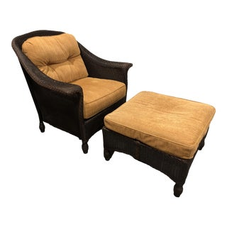 Modern Lloyd Flanders Wicker Club Chair and Ottoman For Sale