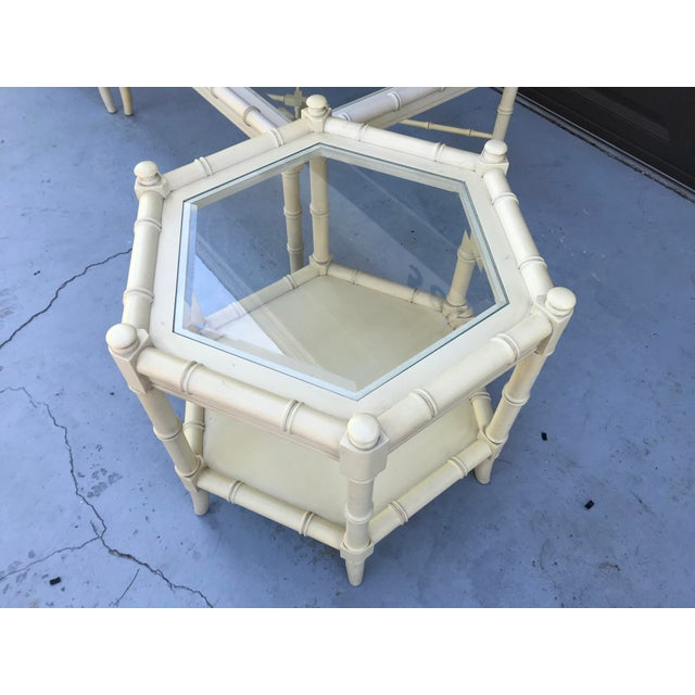Thomasville Clear Glass Vintage Chinoiserie Thomasville Faux Bamboo Coffee Table and Two Side Tables - Set of 3 For Sale - Image 4 of 8