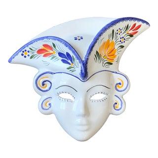Henriot Quimper French Porcelain Wall Mask For Sale