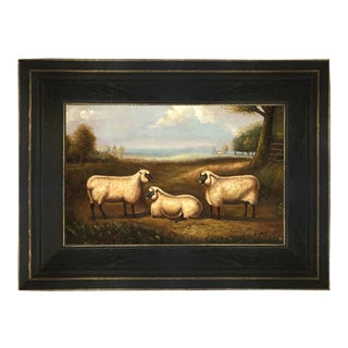 Three Prized Sheep Framed Oil Painting Reproduction Print on Canvas For Sale