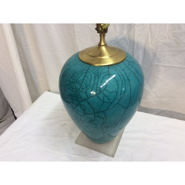 Mid-Century Modern Teal Table Lamp - Image 3 of 6