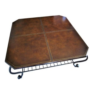 Wrought Iron Base & Leather Top Coffee Table For Sale