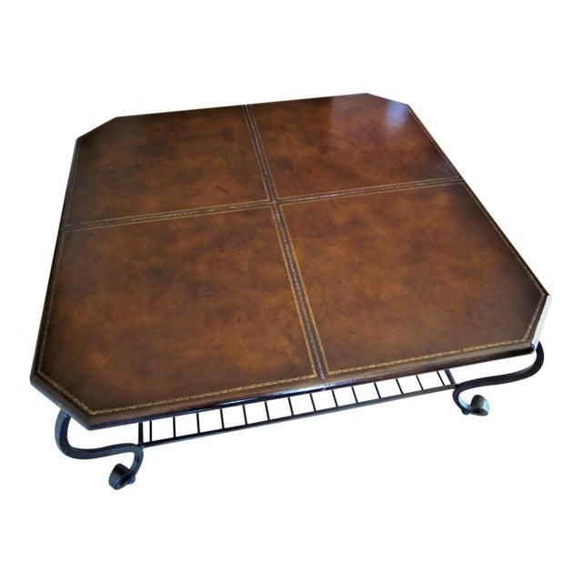 Wrought Iron Base Leather Top Coffee Table Chairish