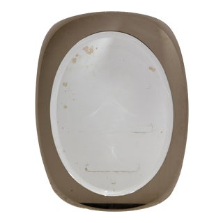 Mid-Century Modern Beveled Smoked Glass & Clear Beveled Mirror Italy 1960s For Sale