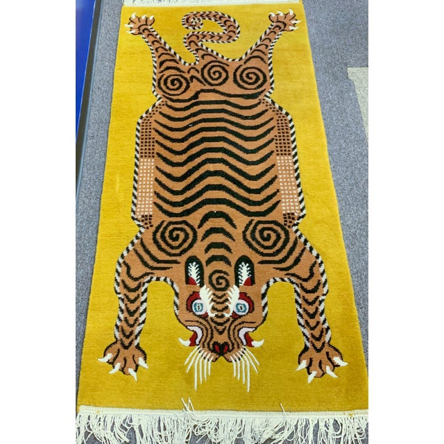 Hand Knotted Tibetan Tiger Rug For Sale - Image 9 of 9