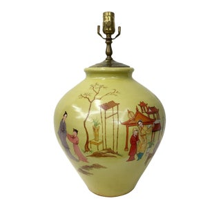 1960's Hand Painted Chinoiserie Scenery Lamp For Sale
