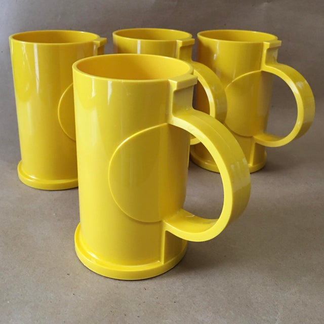 Danish Modern Vintage Dansk Designs Gunnar Cyren Yellow Handle Mugs - Set of 4 For Sale - Image 3 of 8