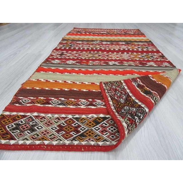 Antique Turkish Kilim Striped Embroidered Rug - 3′4″ × 6′9″ For Sale In Los Angeles - Image 6 of 6