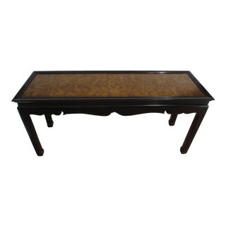 Burlwood and Black Lacquer Console Table For Sale