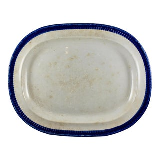 19th C. Ralph Clews Feather or Shell Edge Pearlware Oval Platter For Sale
