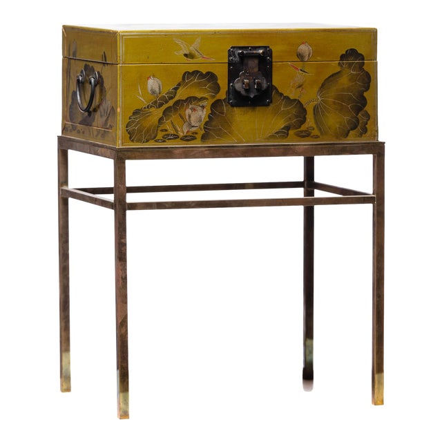 Hand-Painted Lotus Scene Chartreuse Leather Box on Patinated Brass Stand as Side Table by Lawrence & Scott For Sale