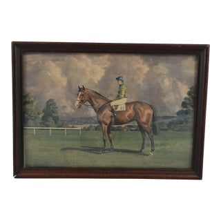 Early 20th Century Antique English Horse and Jockey Framed Print
