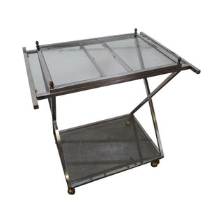 Hollywood Regency Chrome X Base Server Cart For Sale