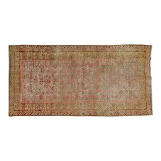 "20th Century Boho Chic Brown and Burnt Orange Khotan Wool Rug - 4'10""x9'9"" For Sale"