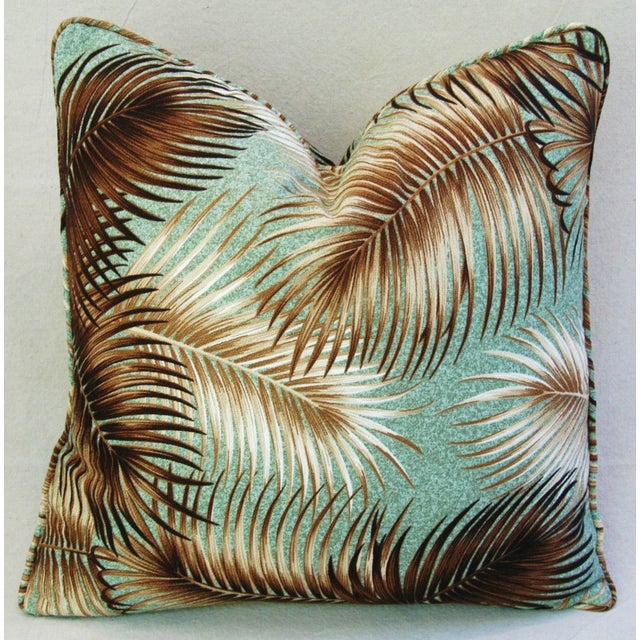 Mid-Century Palm Leaves Barkcloth Pillows - Pair - Image 9 of 9