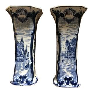 Antique Delft Blue & White Vases - A Pair