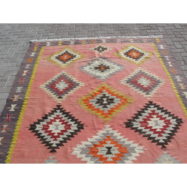Pink Vintage Turkish Kilim Rug - 6′5″ × 8′9″ For Sale - Image 8 of 11