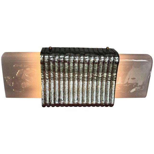 Italian Murano wall lights or flush mounts with frosted ribbed and silvered textured glass panels / Designed by Fabio...