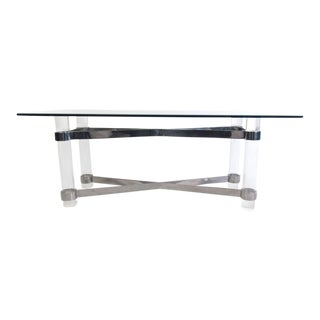 Karl Springer Style Lucite and Chrome Console Table