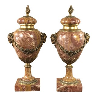 Pair 19th Century Marble & Bronze Cassolettes ~ Mantel Urns For Sale