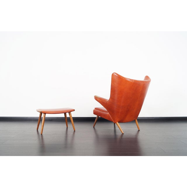 "Wood Ap-19 ""Papa Bear"" Chair and Ottoman in the Manner of Hans J. Wegner For Sale - Image 7 of 12"