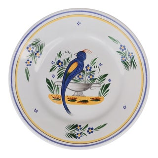 Henriot Quimper Hand Painted Faience Bird Plate For Sale