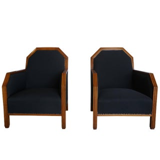 20th Century Art Deco Black Linen Upholstered Club Chairs - a Pair For Sale