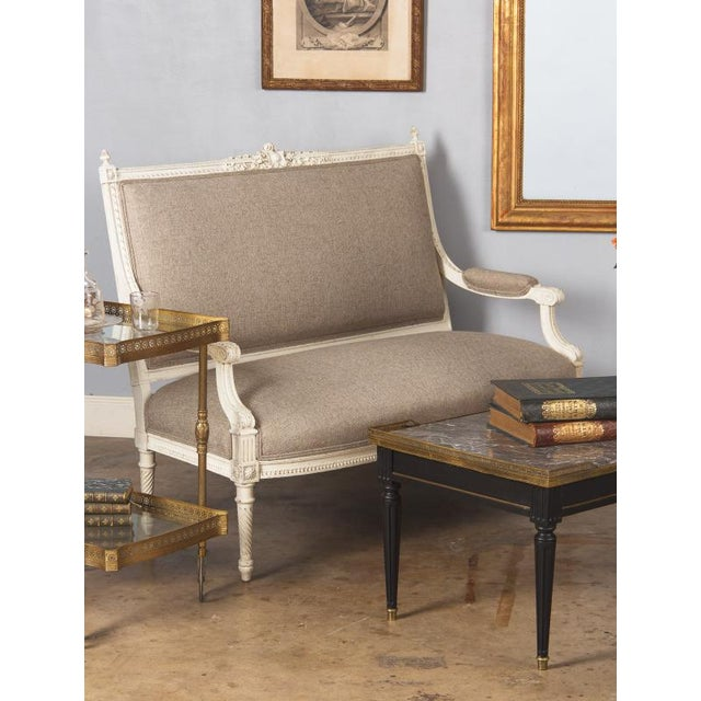 Early 1900s French Louis XVI Style Painted Settee - Image 2 of 10