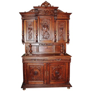 French Rococo Hand-Carved Hutch For Sale
