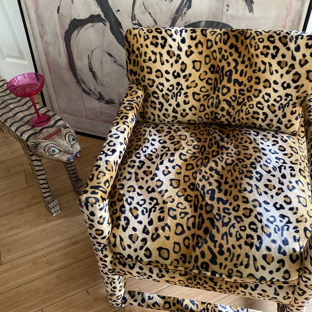 1970s Velvet Cheetah Newly Upholstered Parsons Chairs - a Pair For Sale - Image 5 of 11