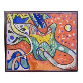 """1950s Vintage Patricia Sloane New York School Abstract """"Cat Face"""" Oil Painting For Sale"""