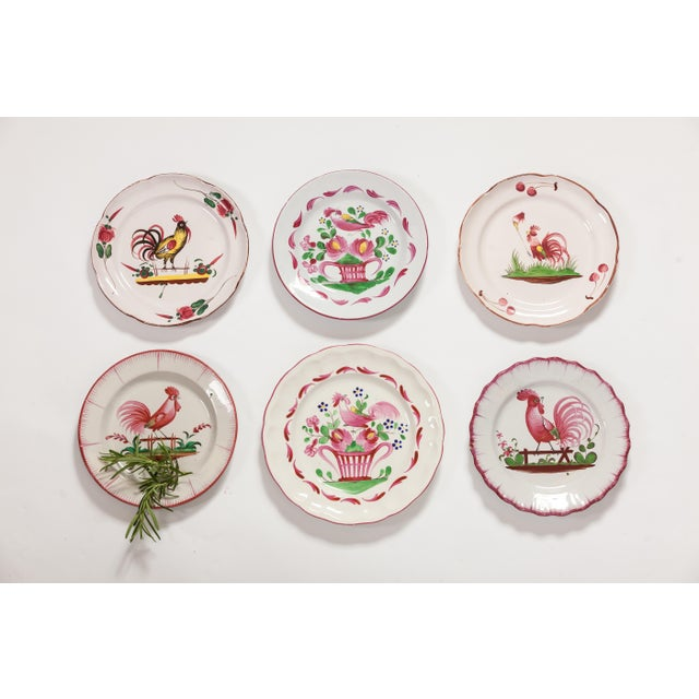 White 6 Piece Rooster Themed Pottery Plates For Sale - Image 8 of 8