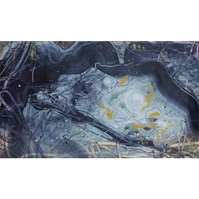 "Dana Oldfather Slate Bed 1, 2019 acrylic, airbrush, and spray paint on yupo 30 x 49 in. ""I celebrate paint and nature's..."