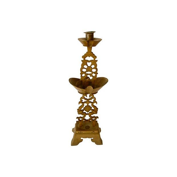Brass Chinese Altar Candlestick Holder - Image 2 of 4